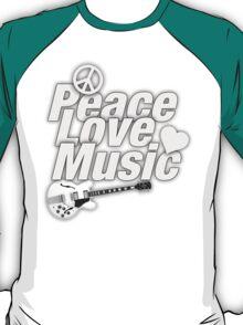 Peace,Love,Music White T-Shirt