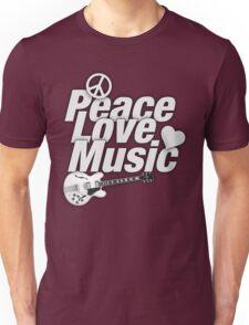Peace,Love,Music White Unisex T-Shirt