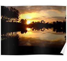Sunset at Montendre Lac Poster