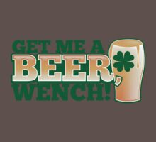 Get me a BEER, Wench! with pint glass and Shamrock  One Piece - Short Sleeve