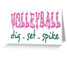 Volleyball Dig Set Spike (pink/green) Greeting Card
