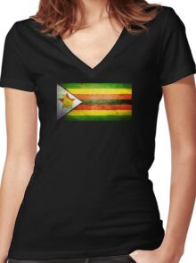 Zimbabwe - Vintage Women's Fitted V-Neck T-Shirt