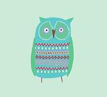 SMALL GREEN OWL  by Jane Newland