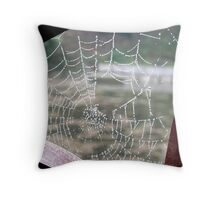 dew on spider's web Throw Pillow