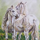 'Nuzzling horses' Pastel and acrylic by artbymelody