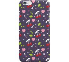 Cherries, Hearts and Music (Purple) iPhone Case/Skin