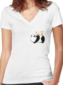 A Panda, a Cat and a little girl Robot Women's Fitted V-Neck T-Shirt