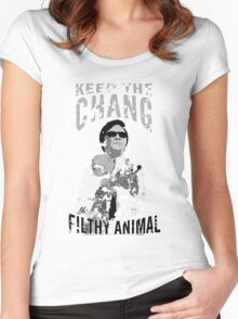 Keep The Chang You Filthy Animal (Black & White) Women's Fitted Scoop T-Shirt