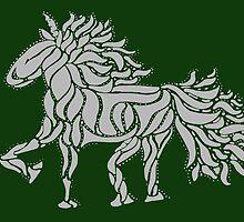 Prancing Dancing Swirly Unicorn (white) by darkesknight