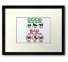 Good and Bad Barn Hunt Indicators Framed Print