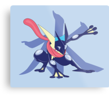 Greninja with Water Kanji Metal Print