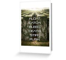 FLOAT, CATCH, BLEED, DEATH, STIFF, PUSH. Greeting Card