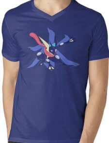 Greninja with Water Kanji Mens V-Neck T-Shirt