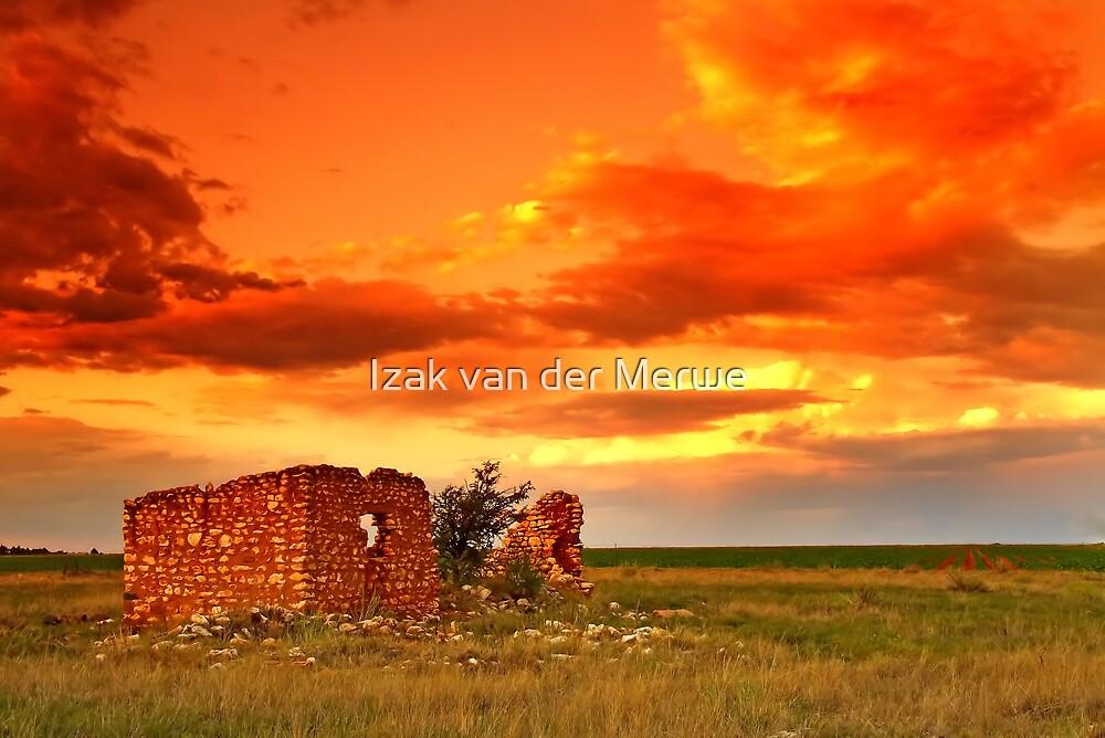 Lone house on fire. by Izak van der Merwe