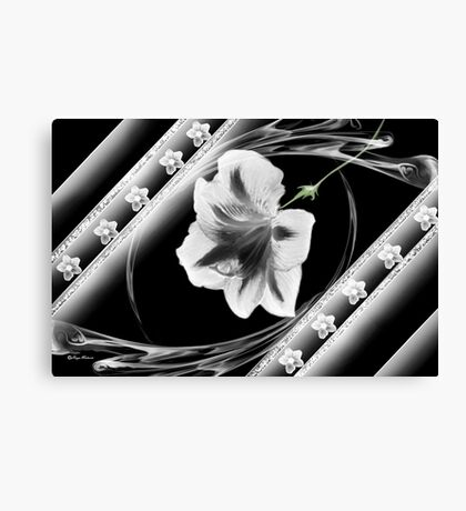 Wall Art- 18~ Black and White Flower+ Products Design Canvas Print