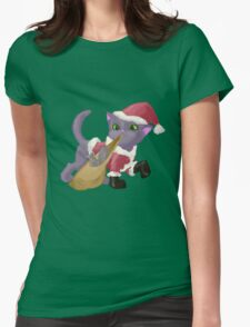 Santa Kitten Womens Fitted T-Shirt