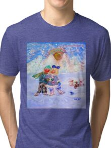 Skaters in Love Decor & Gift by Marie-Jose Pappas Blue Tri-blend T-Shirt