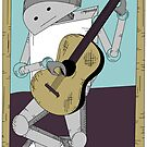 Robot Art after Picasso's Old Man with Guitar by Danielle Kerese