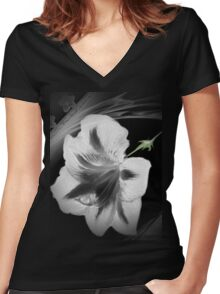 Wall Art- 18~ Black and White Flower+ Products Design Women's Fitted V-Neck T-Shirt