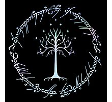 Tree of Gondor and One Ring Inscription, LOTR, Tolkien Photographic Print