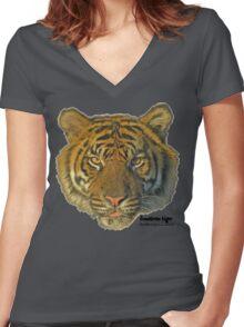 Sumatran tiger Women's Fitted V-Neck T-Shirt