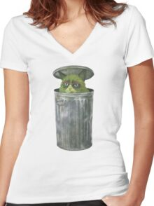 Grouchy Cat  Women's Fitted V-Neck T-Shirt