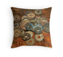 chinese old coins Throw Pillow