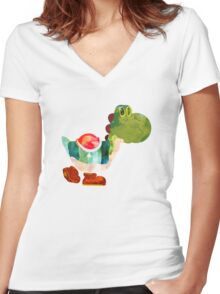 The Very Hungry Dinosaur (No Text) Women's Fitted V-Neck T-Shirt