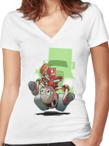 Little Red Robot Tee Women's Fitted V-Neck T-Shirt