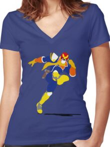 Captain Falcon Blocky Women's Fitted V-Neck T-Shirt