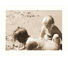 Two girls in the sand Art Print