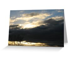 blue sky with sunset below Greeting Card