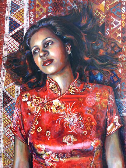 Portrait Art: La Alfombra Roja (The Red Rug) by Catalina Viejo Lopez de Roda