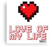Pixel Heart Love Computer Games Canvas Print