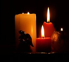 Candles with Angel by Martie Venter