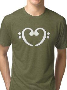 Music Notes White Heart Tri-blend T-Shirt