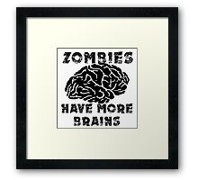Zombies Have More Brains Framed Print