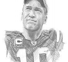 Peyton Manning Colts fairwell drawing by Mike Theuer