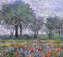Blue Bonnets in the mist by Laurieann Dygowski