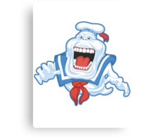 Funny Ghostbusters Slimer Stay Puft Marshmallow Man Mash Up Canvas Print