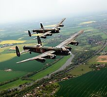 Two Lancasters over the Upper Thames by Gary Eason + Flight Artworks