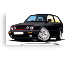 VW Golf GTi (Mk2) Black Canvas Print