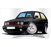 VW Golf GTi (Mk2) Black Poster