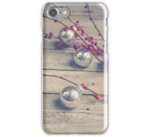 Holly Branch and Holiday Ornaments iPhone Case/Skin