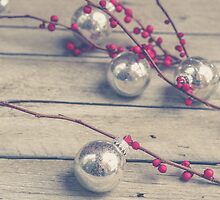 Holly Branch and Holiday Ornaments by Olivia Joy StClaire