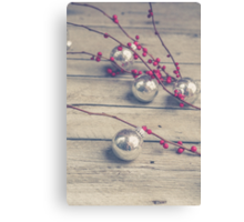 Holly Branch and Holiday Ornaments Canvas Print