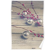 Holly Branch and Holiday Ornaments Poster