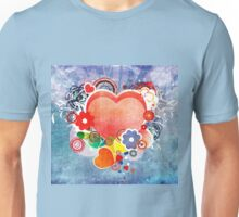 Grunge Valentines day card with hearts Unisex T-Shirt