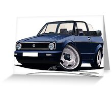 VW Golf (Mk1) Cabriolet Dark Blue Greeting Card