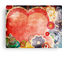 Grunge Valentines day card with hearts 2 Canvas Print